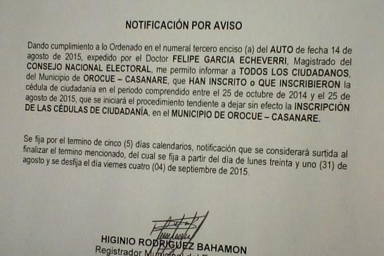 CNE podría anular inscripción de cédulas en varios municipios de Casanare