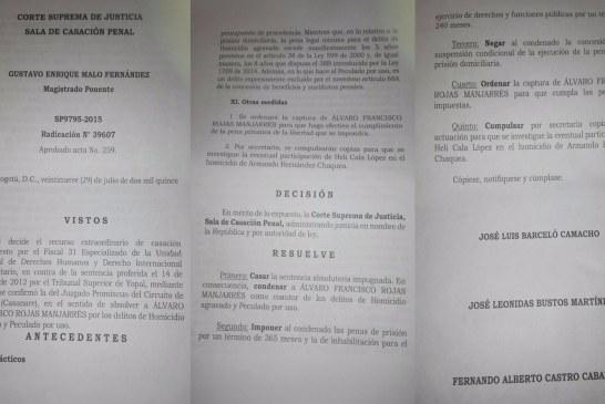 Helí Cala involucrado en homicidio por CSJ