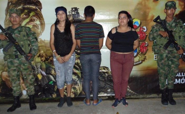 En Tauramena y Yopal, Ejército captura tres adultos y un menor por drogas