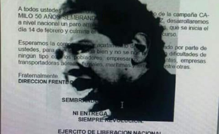 Panfletos anuncian paro armado del ELN desde el domingo.