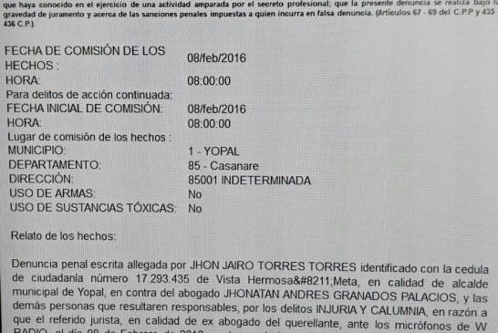 JJ Torres y Juez 2a Penal denuncian por calumnia a abogado Jhonatan Granados.
