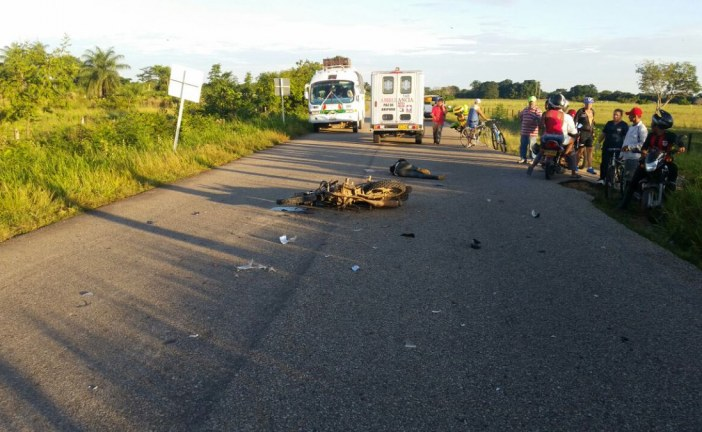 Muere joven motociclista en accidente de tránsito en Paz de Ariporo