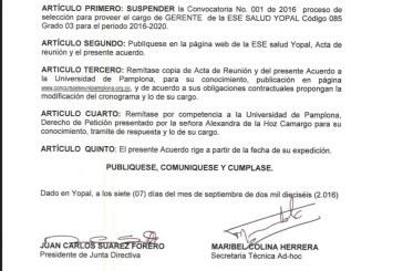 Suspendido concurso de elección del gerente de la Ese Salud Yopal
