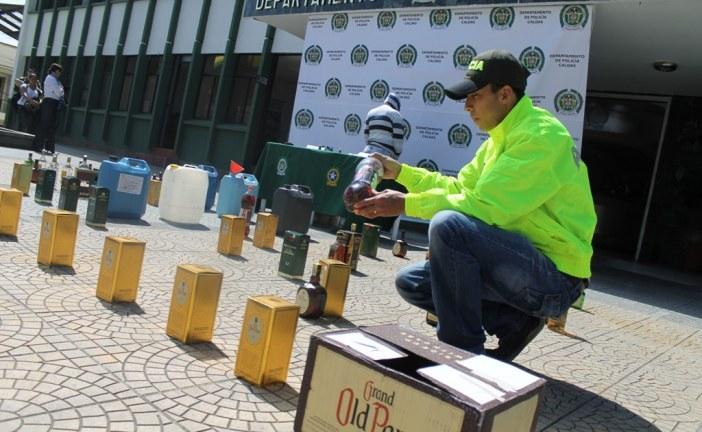 Este fin de semana fueron incautadas 71 botellas de licor adulterado