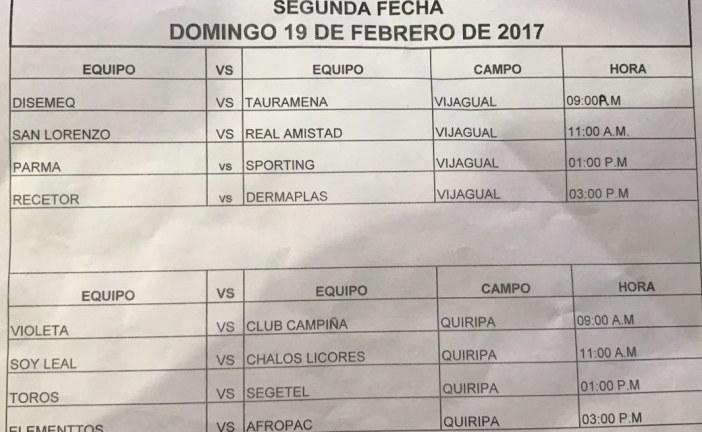 """Programación de la segunda fecha, del Primer Torneo 2017 """"Sénior Master"""""""