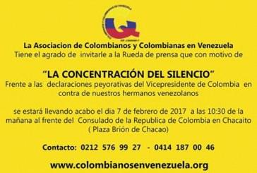 """""""Concentraciones del Silencio"""" de ciudadanos Colombianos en Venezuela"""
