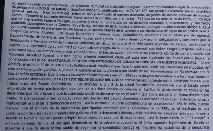 Comunales Aguazuleños exigen Consulta Popular para definir  ¿extracción de petróleo o protección y conservación del agua?