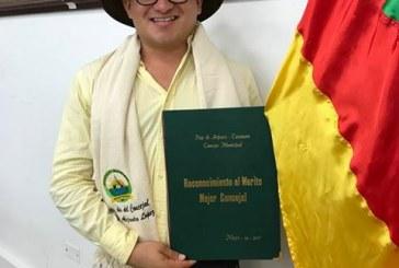 Concejal Alejandro López Recibió el reconocimiento a mejor concejal 2017 de Paz de Ariporo