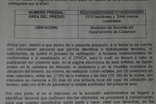¿Hasta el momento qué ha pasado con las presuntas 5210 hectáreas Baldías de Nunchía?