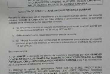 #EnAudio Admitida demanda de perdida de investidura contra concejales por aprobación de la creación de CEIBA