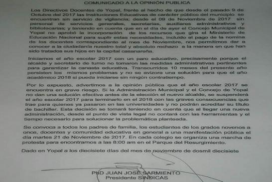 Directivos Docentes de Yopal suspenderían el año escolar 2017, debido a que no existen garantías para terminar el calendario académico.