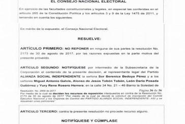 #EnAudio CNE rechazó revocatoria de inscripción de Luis Eduardo Castro.