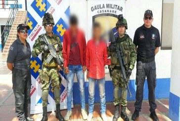 Dos capturados en Hato Corozal por extorsión y concierto para delinquir.