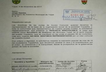Señor Jorge E. Gamba renuncie, así se lo exigen comunales de Yopal al secretario de gobierno atornillado al cargo.