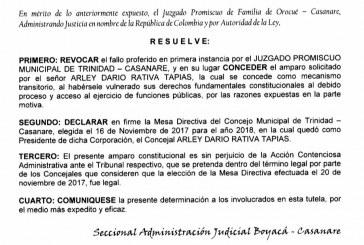 """#EnAudio """"Tutele e impugné y gane la tutela que ratifica mi designación como presidente del Concejo Municipal de Trinidad, ahora espero fallo de impugnación"""": Arley Rativa, concejal Triniteño"""