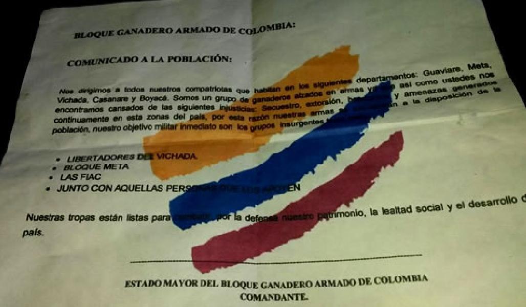 De nuevo los panfletos causan terror en Casanare.