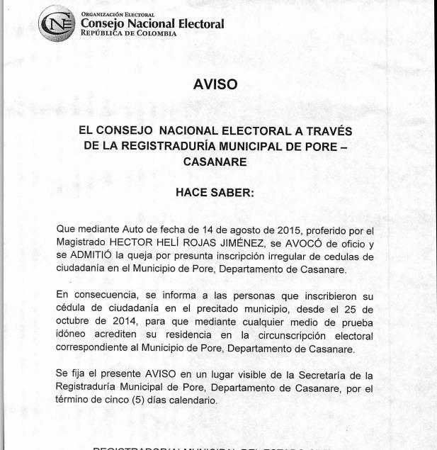 Votantes de Pore deberán certificar su residencia en el municipio
