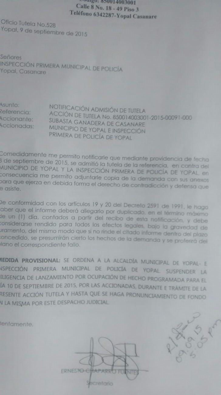 Mediante tutela Subasta Ganadera frenó devolución del coliseo de ferias