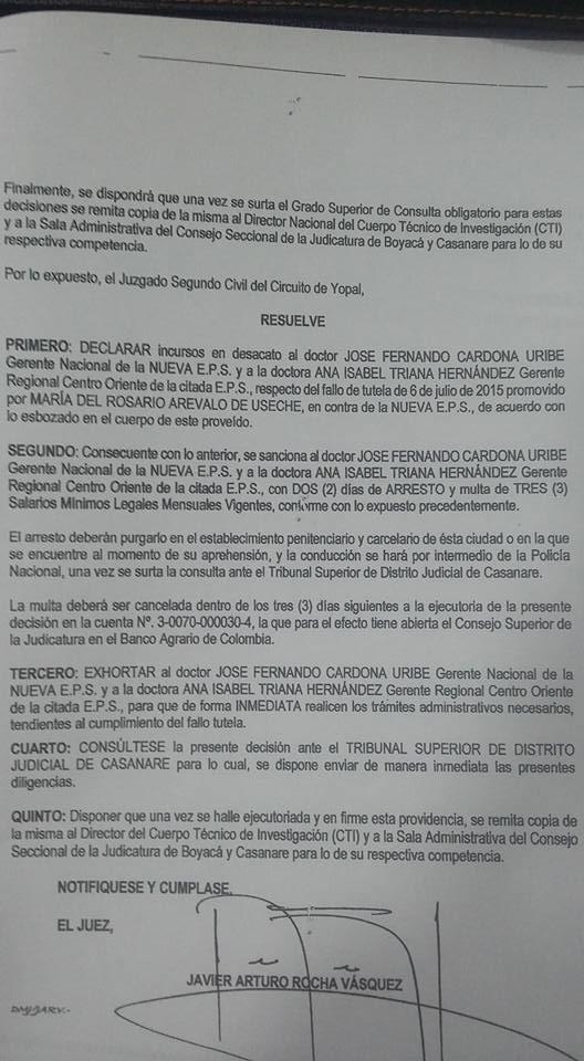 Gerentes nacional y regional de Nueva EPS irán a la cárcel por desacato a tutela