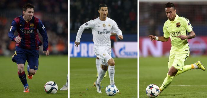 Lionel Messi, Cristiano Ronaldo y Neymar, finalistas al Balón de Oro