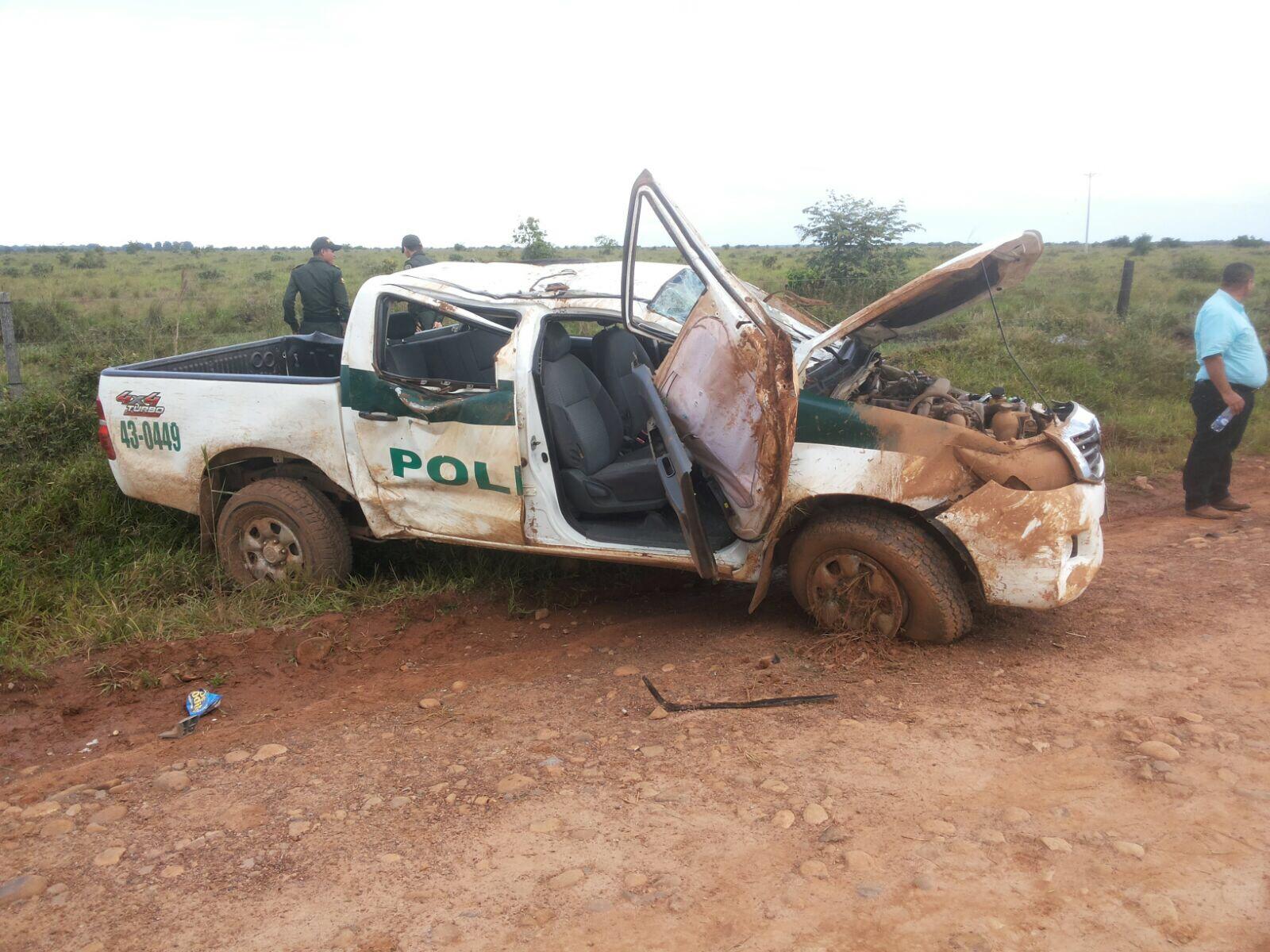 Dos policías lesionados en accidente de tránsito en Orocué