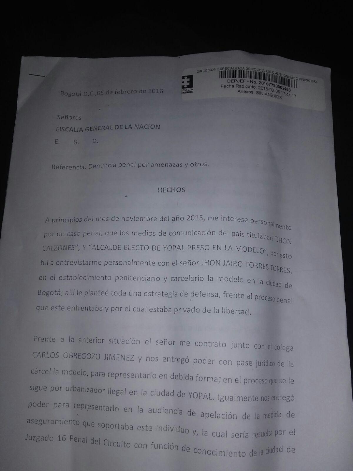 Alcalde de Yopal JJ Torres niega haber hecho negocios con abogado Jhonatan Granados.