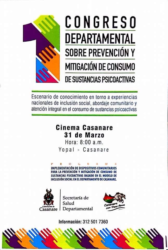 Casanare realizará 1er Congreso Departamental de Sustancias Psicoactivas.
