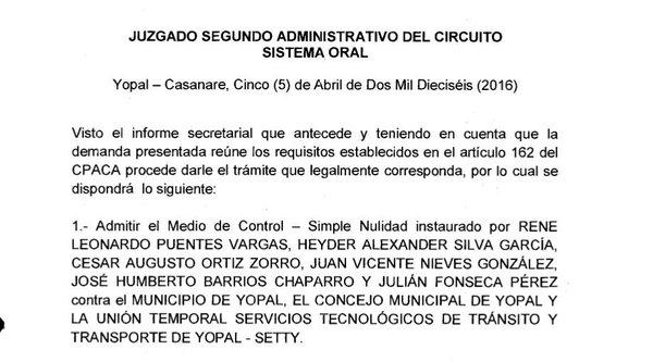 Admitida demanda contra concesión de los servicios de tránsito de Yopal.