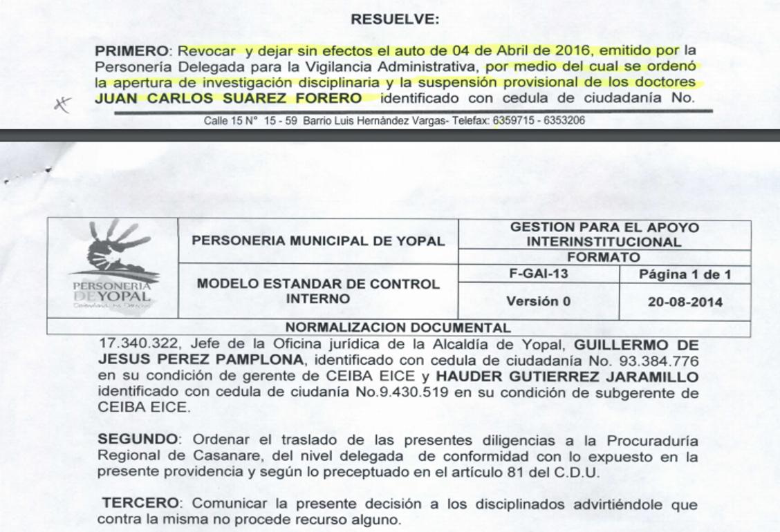 Personero revocó suspensión de asesor jurídico de la Alcaldía de Yopal