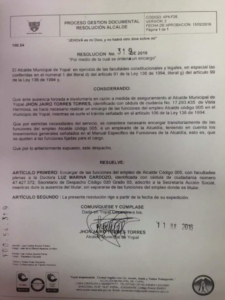 Desde la prisión alcalde JJ Torres nombra alcaldesa encargada de Yopal