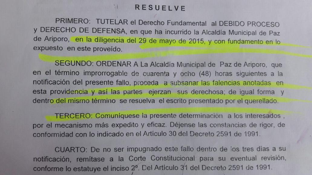 Ni con Tutela han podido recuperar una vía en el municipio de Paz de Ariporo.
