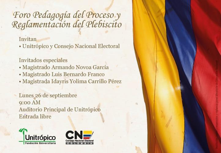 Unitrópico realiza Foro Pedagogía del proceso y reglamentación del plebiscito por la paz