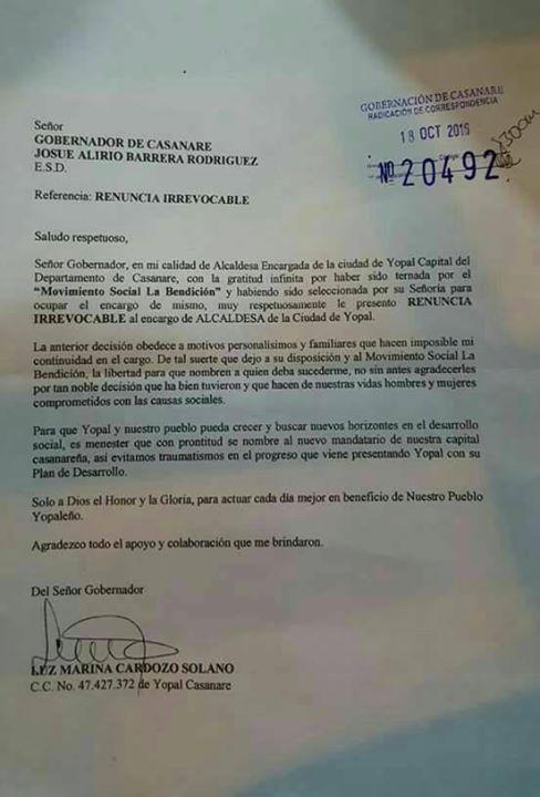 AUDIO | Falsa renuncia de la alcaldesa se habría radicado ayer en la Gobernación de Casanare