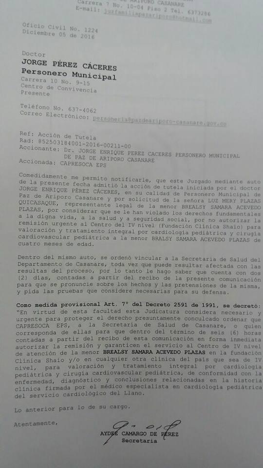 Con acción de Tutela Personería logró que juez ordenara a CAPRESOCA EPS y Red Salud Casanare remisión a hospital de cuarto nivel a niña de 4 meses de edad en Paz de Ariporo.