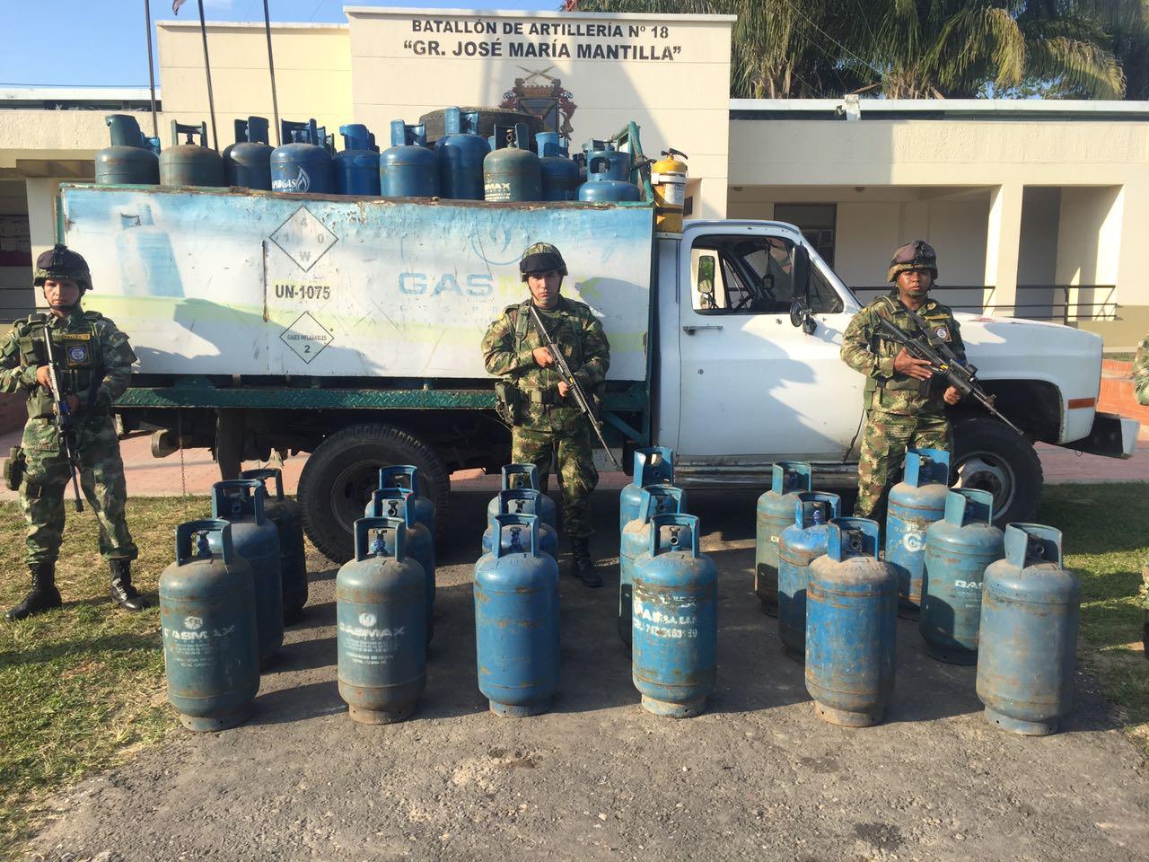 Más de 100 cilindros de gas de contrabando fueron incautados en Arauca