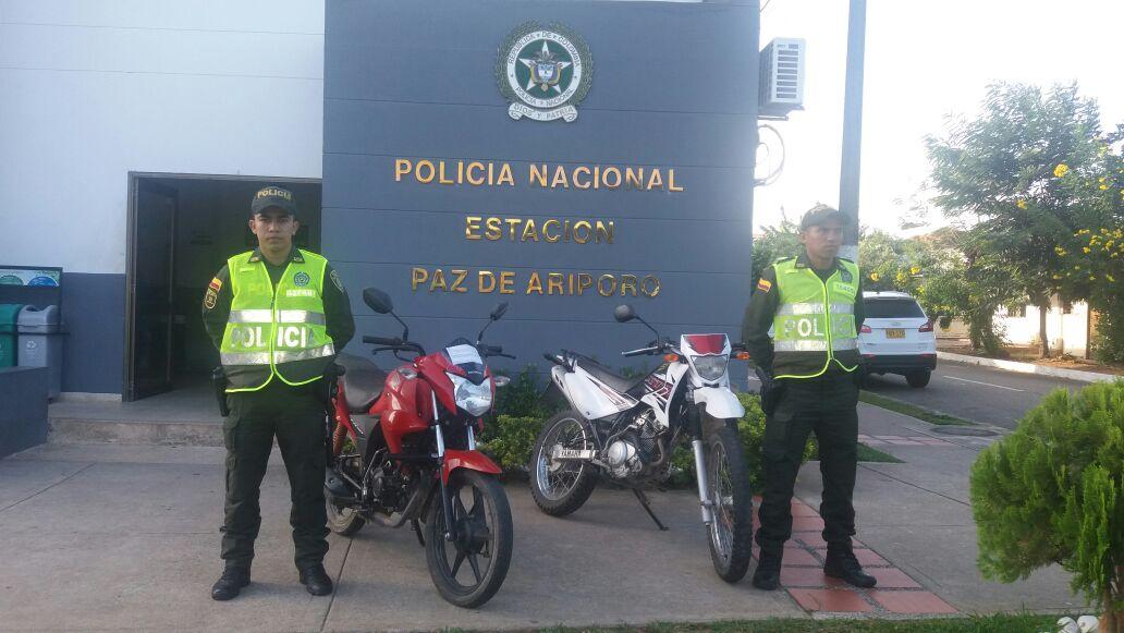 Policía recuperó dos motocicletas en Paz de Ariporo