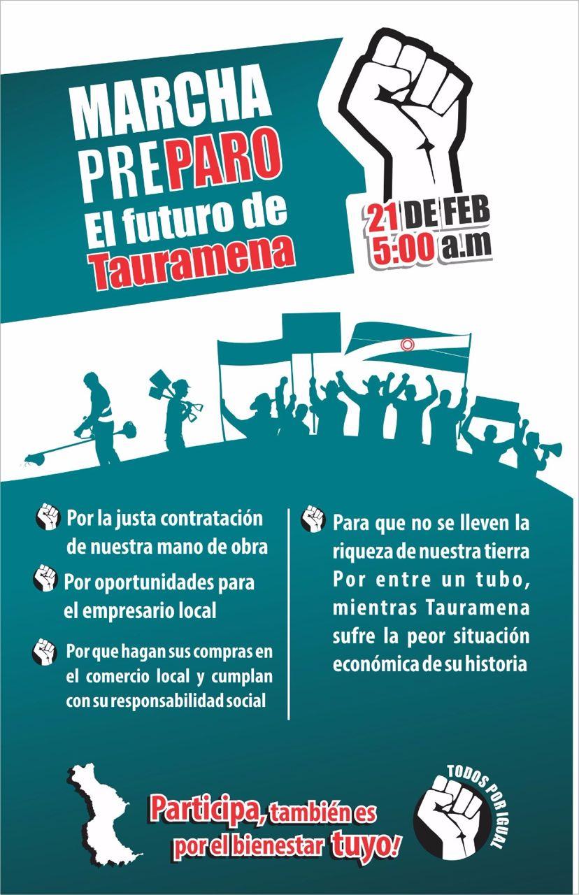 #EnAudio Este martes en Tauramena realizan marcha pacífica para concertar varios temas con compañías petroleras
