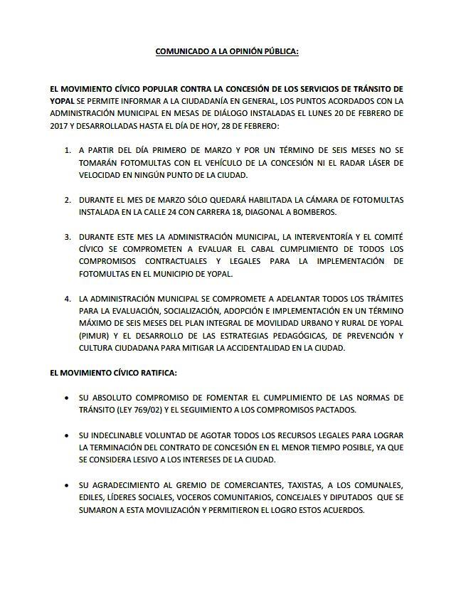 Según comité cívico, suspenderán foto multas en Yopal