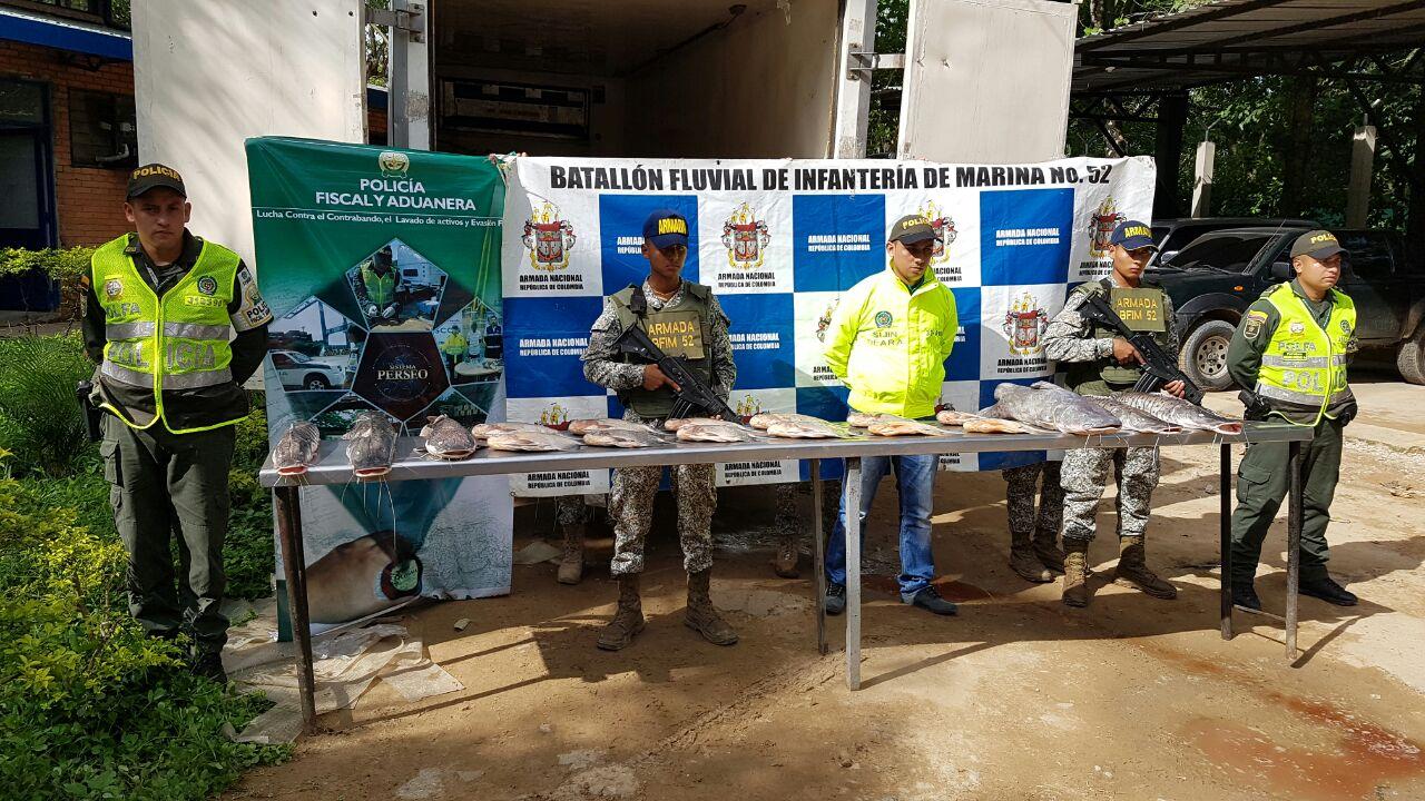 Armada y Policía Nacional incautaron cinco toneladas de pescado en Arauca