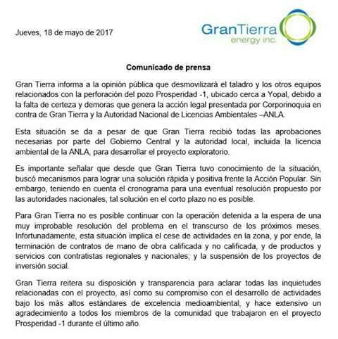 #EnAudio Reacciones al retiro de #GranTierra del proyecto #ElPorton