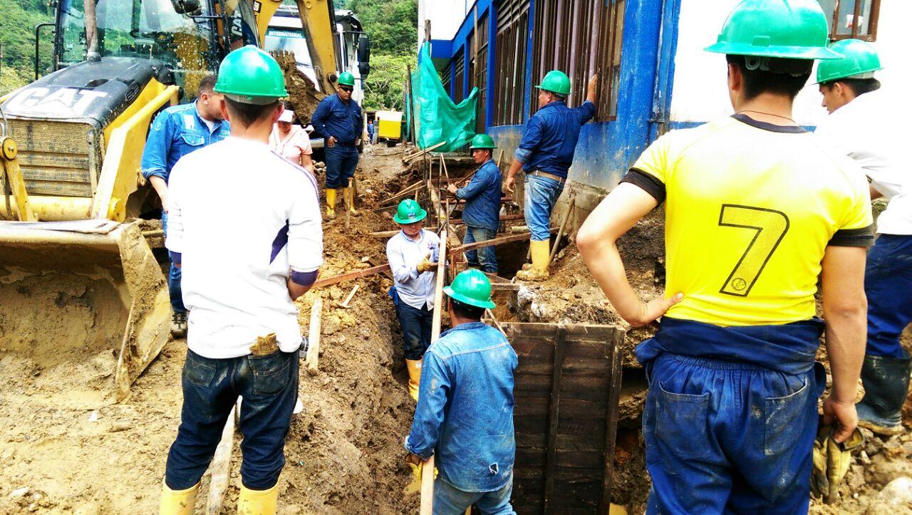 Un avance del 60 % presentan las obras para proteger de deslizamientos el colegio de Recetor