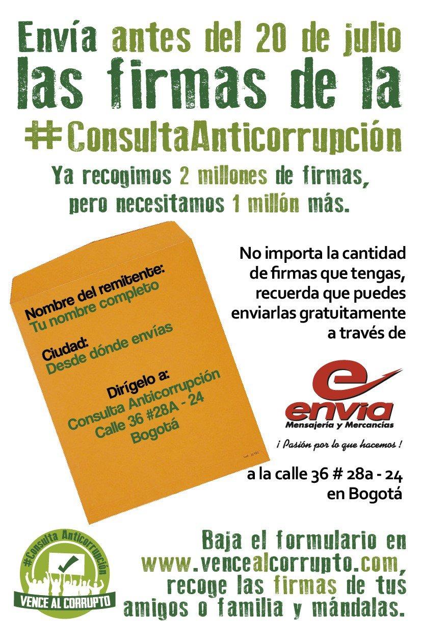 #EnAudio Angelica Lozano invita a continuar con la recolección de firmas de la consulta anticorrupción, queda una semana.