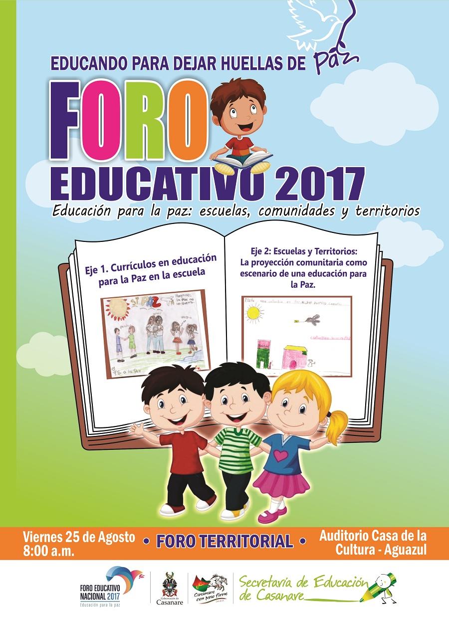 """Este viernes en Aguazul, Foro Educativo Departamental """"Educación para la Paz"""""""