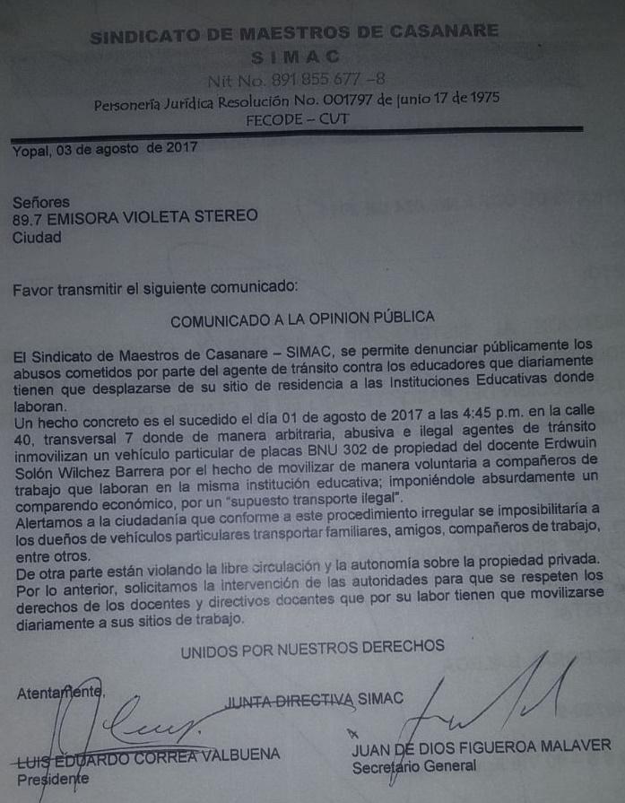 Simac denuncia irregularidades de agentes del tránsito contra docente