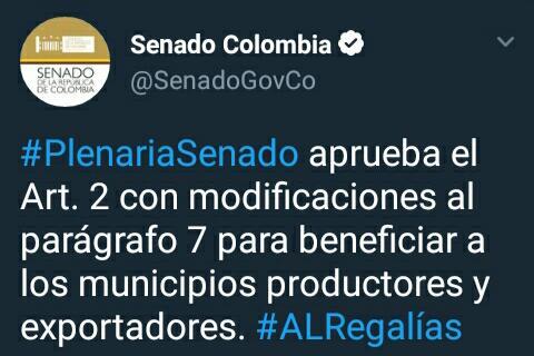 #EnAudio Senadora Martínez habla sobre los beneficios del acto legislativo de regalías.