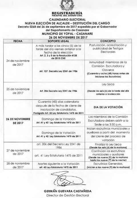 Candidatos a alcaldía de Yopal podrán inscribirse hasta el 11 de octubre