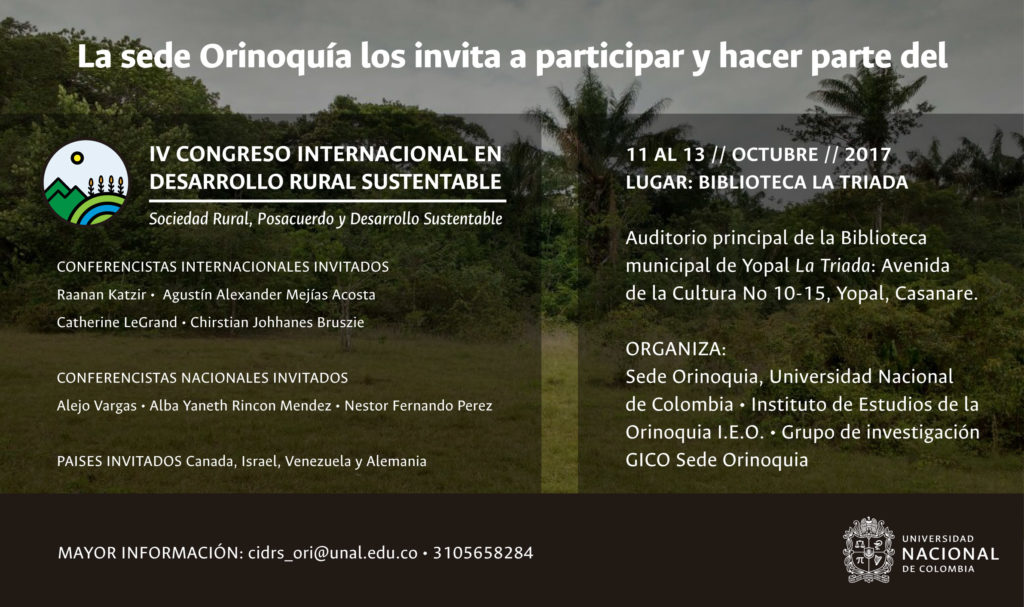 Universidad Nacional realizará Congreso Internacional en Desarrollo Rural Sustentable y pos acuerdo en Yopal