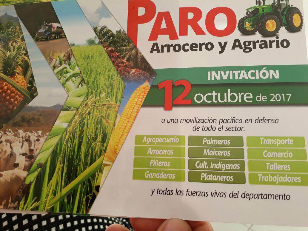 Movilización agraria hoy en vías del país y Casanare