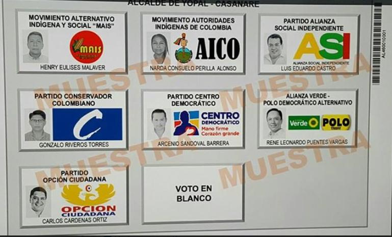 Candidatos a las atípicas de alcalde para Yopal ya tienen ubicación en el tarjetón