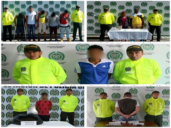 Diez personas capturadas por tráfico de estupefacientes en Casanare.